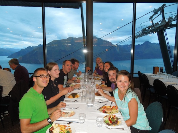 The hostel staff out to dinner.