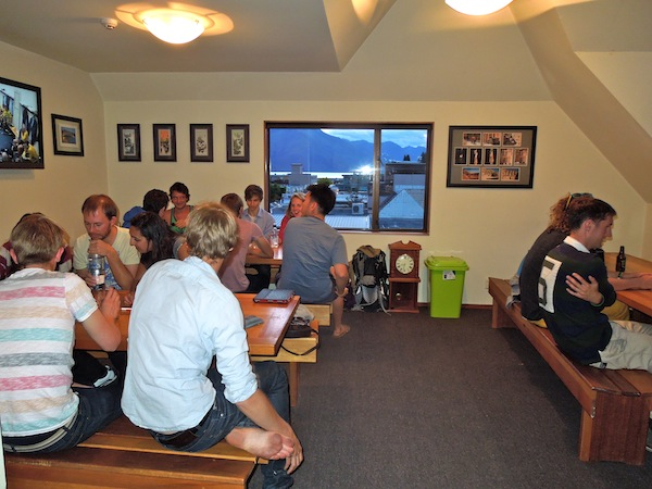 The hostel dining room, all filled up for a trivia night hosted by yours truly.