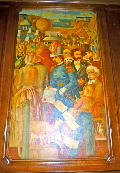 Here's a rather famous painting inside the bar at the Palace Hotel portraying famous characters from the city's past. The guy with the Col. Sanders mustache is Mark Twain.  And yet, check out who gets the plum center spot.