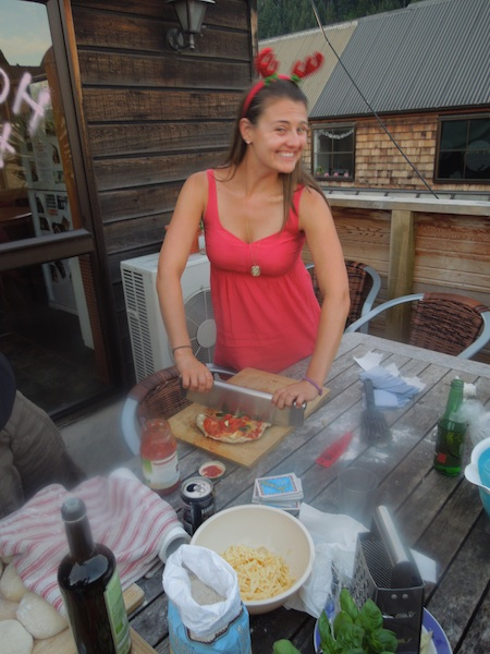Making pizza (a few days before Christmas) on the balcony of the hostel where I used to work. Hardly looks like I'm roughing it, right?