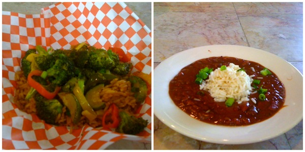 Vegan jambalaya and vegan red beans and rice at Cajun Cafe.